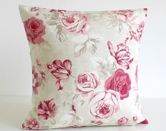 Shabby Chic, Throw Pillow Cover, Decorative Cushion Cover, Floral Pillow Sham, 16 Inch Sofa Pillow, 16x16 - Country Flowers Raspberry