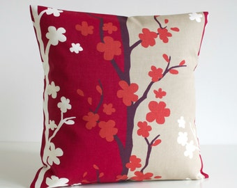 Scandi Pillow Cover, Throw Pillow Cover, Cushion Cover, Scandinavian Sofa Pillow, Pillow Sham, Pillow - Nordic Blossom Raspberry