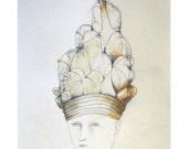 drawing original Woman Man Child portrait Hat figurative art people pencil