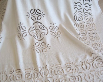 Glorious Antique French Pure Linen Openwork Tablecloth Crochet Lace Hand Drawn Thread Work Superb 80 by 75 Inches Future Heirloom