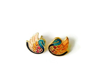 Vintage Swan earrings, cloisonne, post earrings, NBW