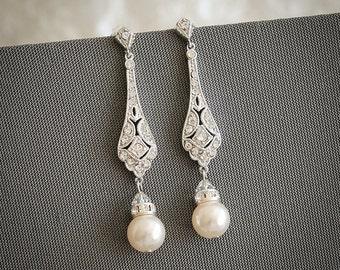 Bridal Earrings, Wedding Earrings, Swarovski Pearl Drop Dangle Earrings, Vintage Style Earrings, Old Hollywood Wedding Jewelry, TRISSIE