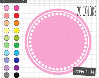 Polka Dot Circle Digital Frames, Polka Dot Labels, Printable Frames, Instant Download, Commercial Use