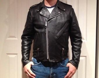 1970s HD Motorcycle Jacket, Harley Davidson Leather Jacket, Size 38