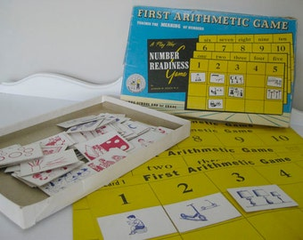 Vintage Game - First Arithmetic Game - Math Game - First Grade - 1959 - Retro Number Teaching Tool