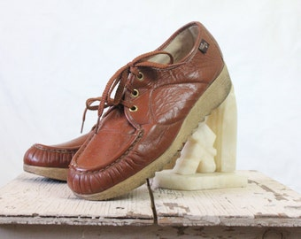 70's Sienna Leather Lace Oxfords Sz 7.5/8