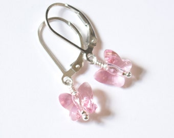 Pink Butterly Earrings , Kids' Earrings , Pink Children's Earrings , Girls' earrings , Leverback earrings , Birthday gift , gift for a girl