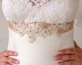 Bridal Light Gold Beaded Lace Sash Bridal Lace Belt Champagne Ribbon Sash Bridal Light Gold Sash Gold Beaded Sash Crystal Beaded Sash Pearls