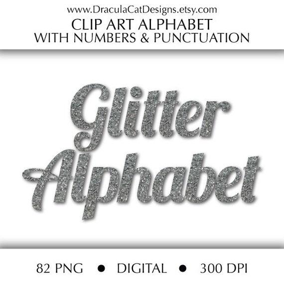 Digital Scrapbooking Pack  SILVER GLITTER ALPHABET