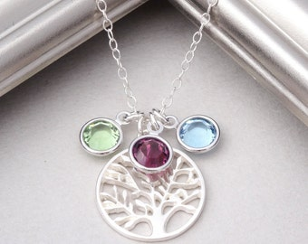 Family Tree Necklace, Sterling Silver, Mothers Necklace, Mom Necklace, Mothers Jewelry, Birthstone Necklace, Tree of Life, Grandma Necklace