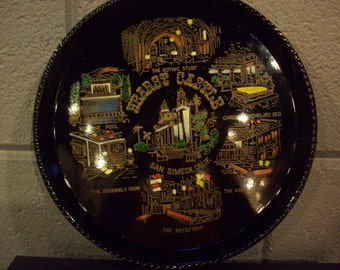 HEARST CASTLE Souvenir Tray San Simeon California Vacation Travel Black Lacquer