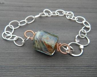 Artisan Glass Barrel Bracelet // Sterling Silver