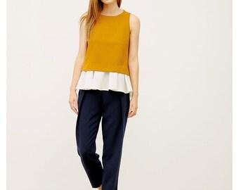 Color Block Crop Top / Peplum Top / Wedding Top / Evening Top / Layered Top / Extravagant Top / Full Flared Skirt