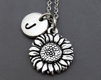 Sunflower necklace, Silver sunflower charm, Sunflower jewelry, initial necklace, initial hand stamped, personalized, antique gold, monogram