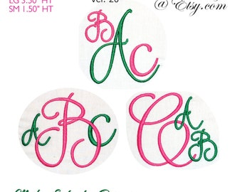 Script Monograms V20 Machine Embroidery Fonts BX Format  Monogram Fonts Digital Download
