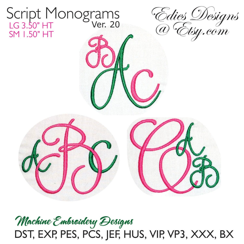 Script monograms v machine embroidery fonts bx format