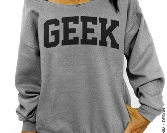 Geek - Gray Slouchy Oversized Sweatshirt