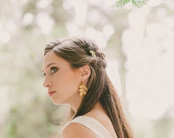 Gold Leaf Bridal Earrings Bridal Jewelry Wedding Earrings Wedding Jewelry Bridesmaids Earrings Autumn Fall Accessories Womens Gift For Her