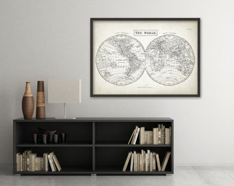 Vintage World Map Wall Art Print - Antique Home Decor - Vintage Map of the World Poster (XS1)