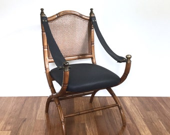 Drexel Campaign Chair Safari Sling Arm Style Faux Bamboo Cane Chair 1970s, Black Leather