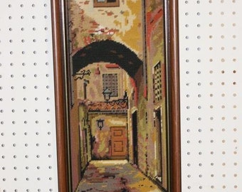 "Matching Pair of Framed Needle Point Prints 8""X20"""