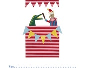 Punch and Judy birthday invitation, Childrens party invite, Birthday invitation, Illustrated party invite