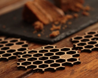 Bamboo Honeycomb Coasters with donation to honeybee charity - set of 6