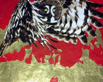 OWL IN FLAMES - Handcrafted Duct Tape Painting - Wall Art