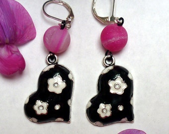 Pink Drusy Earrings, Pink Gemstone Earrings, Cloissone Earrings, Black and White Flower Earrings, Gifts for Her