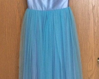 1950s light blue tulle and satin party dress