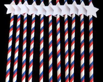 patriotic straws, military wedding, graduation, Americana, Stars and Stripes, 10 CT, USA