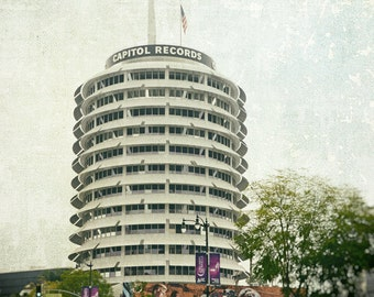 Los Angeles Photography, Capitol Records, Hollywood, Black and White, California, Architecture, Fine Art Print, Wall Art, Home Decor