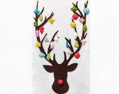Christmas Advent Calendar Pattern - Wool Felt Christmas Countdown - Reindeer with 24 Whimsical Vintage Ornaments