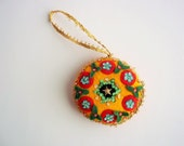 Beaded Ornament, Colorful Vintage Felt Round Ornament, Vintage Handmade Christmas Tree Ornament, Great Bohemian Style, Colorful Yellow & Red