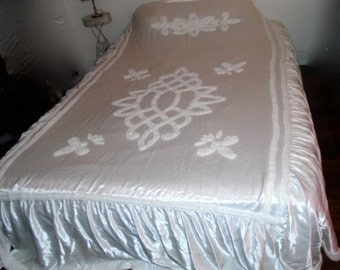 Vintage 50s WHITE CHENILLE and SATIN Bedspread Shabby French Nordic Regency Prairie Cottage Farmhouse Regency Chic