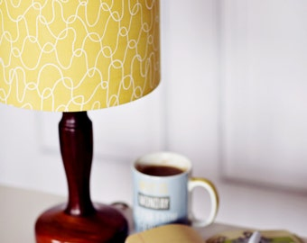 Lampshade, Yellow lamp shade, mustard home decor, retro decor, bedroom lighting, summer lighting, light shade, lamp, yellow, retro lampshade