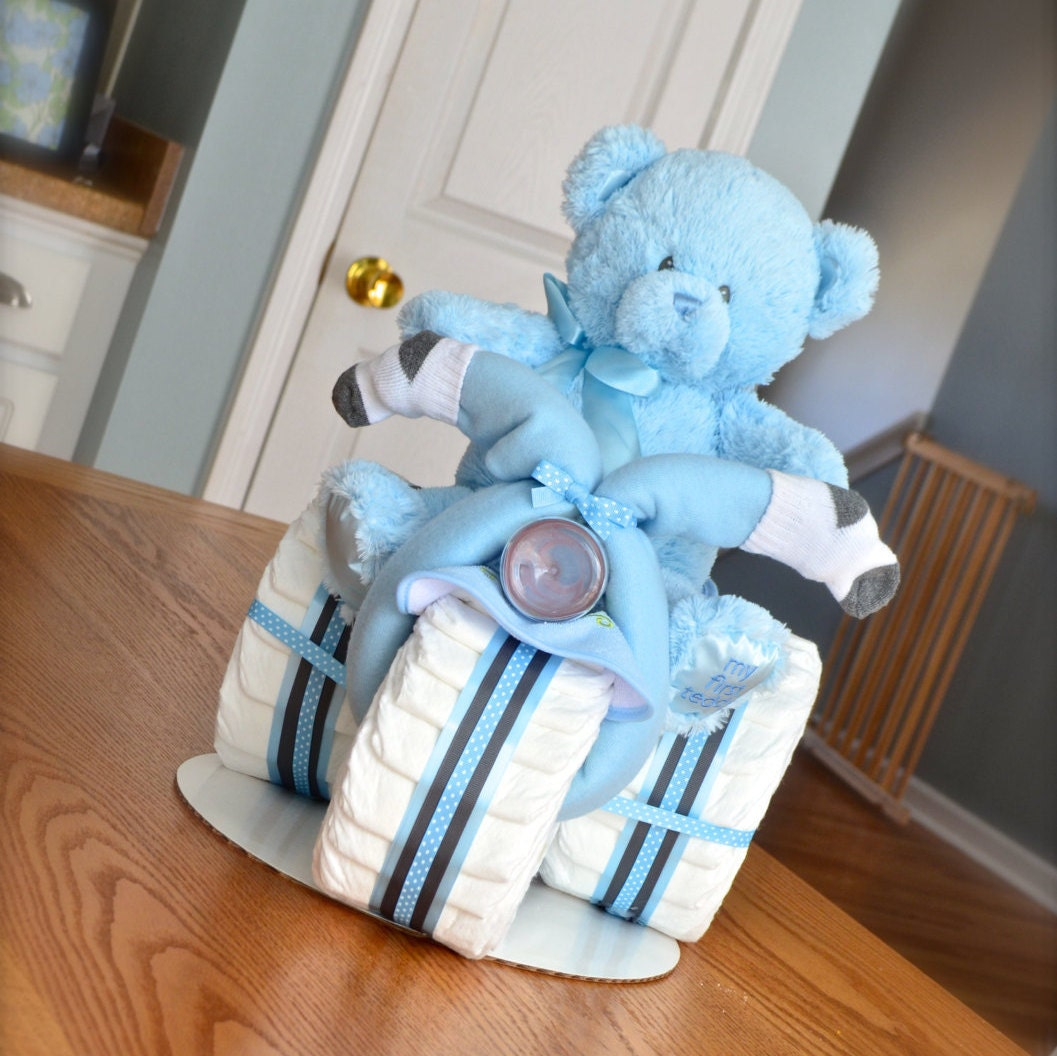 Tricycle Diaper Cake Boy Baby Shower Centerpiece New Daddy