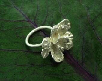 Flower Ring, Sterling Flower Ring, Flower Silver Ring, Handmade Ring, Floral Jewelry, Silver Flower Ring, Nature Ring,  Silver Flower