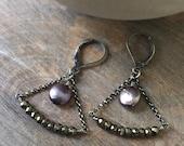 Pyrite Chandelier Earrings, Pyrite Gemstone Earrings, Peacock Pearl Earrings, Bohemian Jewelry, Oxidized Sterling Silver Dangle Earrings