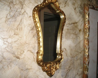 Vintage Italian Gilt Wood framed Florentine Ornate Carved Boudoir Wall Mirror Glam Paris Apartment Chic