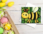 Bee Greeting Card - Bumble Bee on Green Background - Birthday Card, Baby Shower Card, Invitation, Holiday Card - by Artist Kathy Lycka