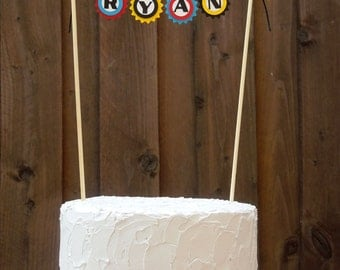 Mini Cake Banner / Bunting Centerpiece for Rocket Spaceship Birthday Party, Personalized