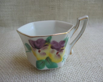 Sphinx Miniature Cup / Decorative Collectible Cup / Hand Painted / Made in Japan / Floral Footed Cup / Tiny Display Cup / Purple Yellow