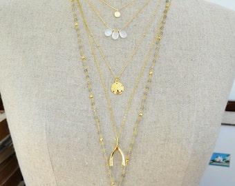 large wishbone necklace  ///  18k gold long layering necklace /// lucky wishbone jewelry