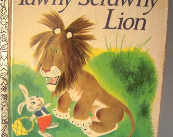Rare first print vintage 1950s collectible children's book Tawny Scrawny Lion, produced in N. Y. U.S.A, not a reprint, Little Golden Books