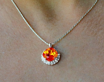 Fire Opal Swarovski Crystal Pendant Necklace