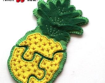 Pineapple 3 Piece Felt Jigsaw Puzzle Hand Sewing PDF Toy Pattern Felt Food Toy