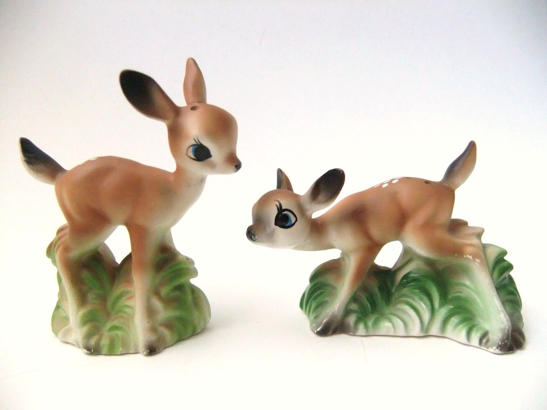 Vintage Deer Salt And Pepper Shakers Vintage Fawn Deer Salt And