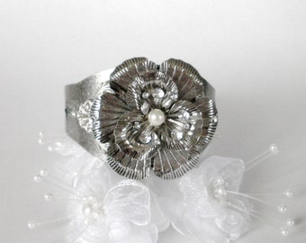 Silver Floral Cuff Bracelet, Flower Jewelry, Art Nouveau Bracelet, Vintage Style Cuff Bracelet, Romantic, Wedding, Bridesmaid, Gift For Her