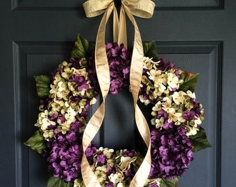 Spring Wreaths | Blended Hydrangea Wreath | Front Door Wreaths | Wreaths | Spring Wreath | Summer Wreath | Door Wreath